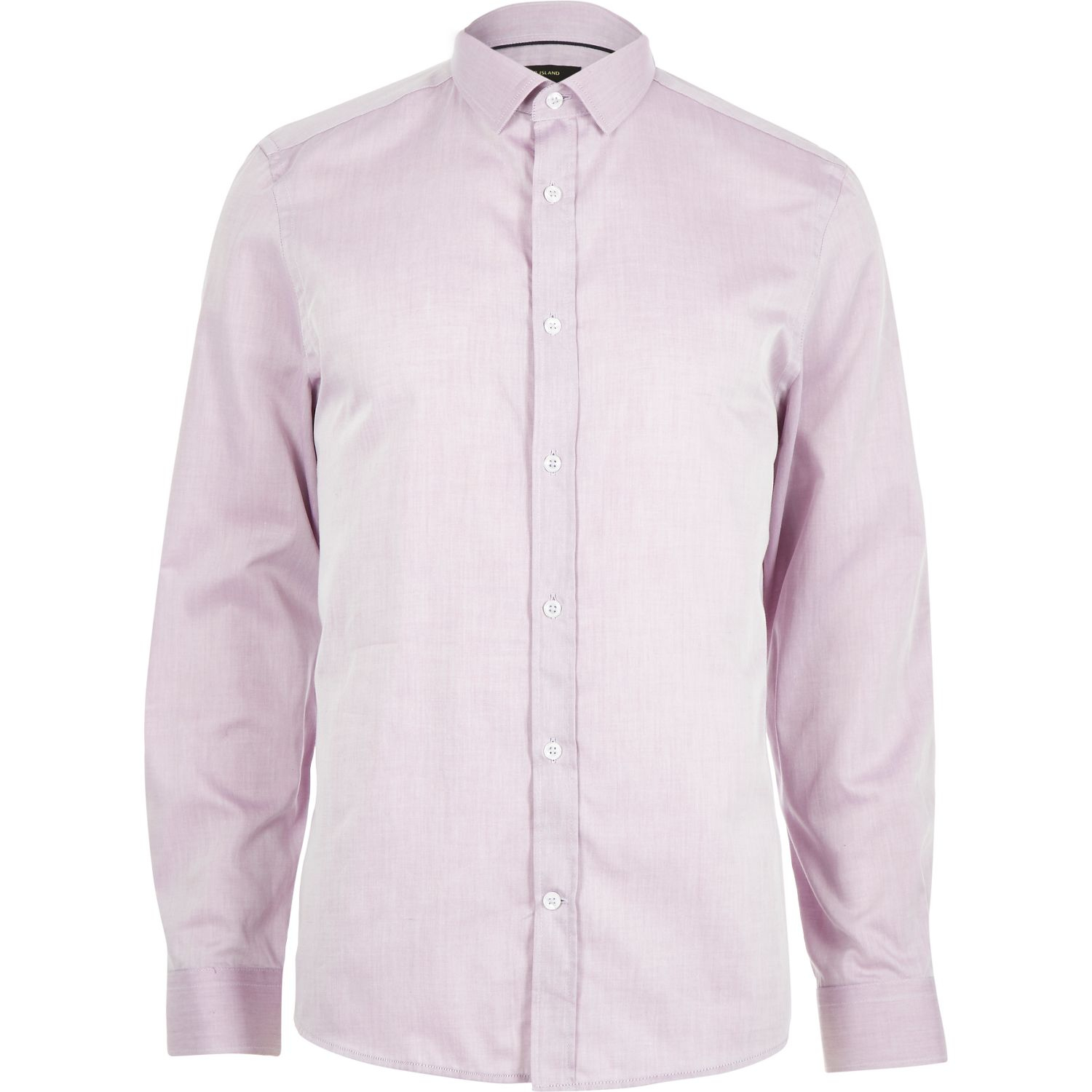 River island light purple long sleeve formal shirt in Light purple dress shirt men