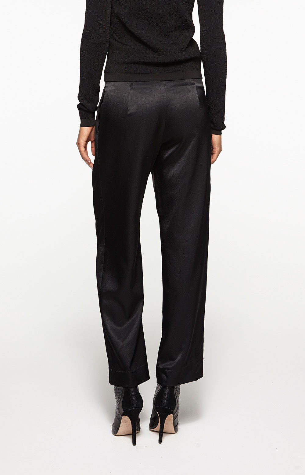Lyst - Nicole Miller Cropped Satin Trousers in Black adc67f318f5e8