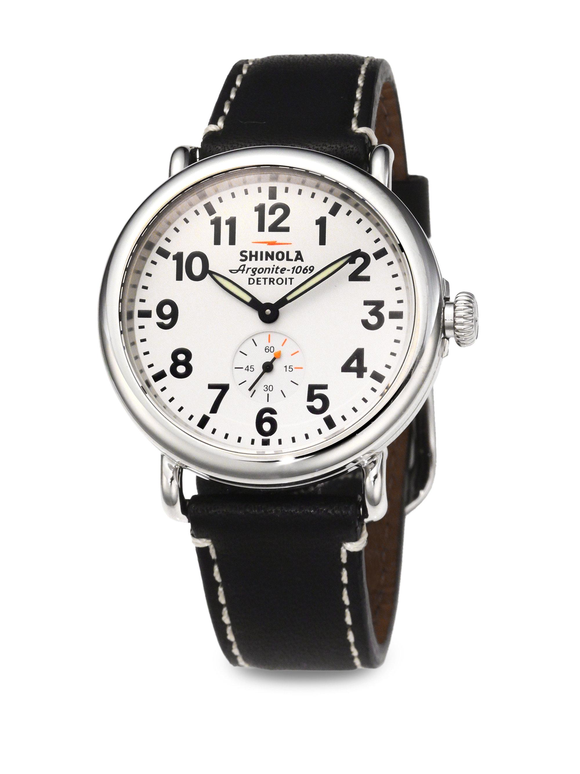 Shinola runwell stainless steel watch in black for men stainless steel black lyst for Shinola watches