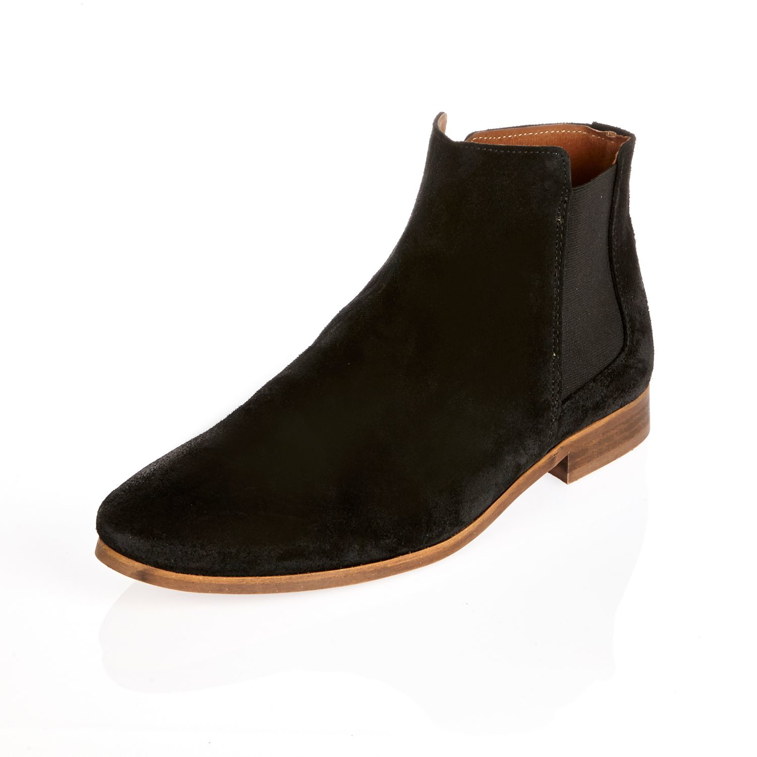Mens Dark Brown leather chelsea boots River Island l0tORtyyfd