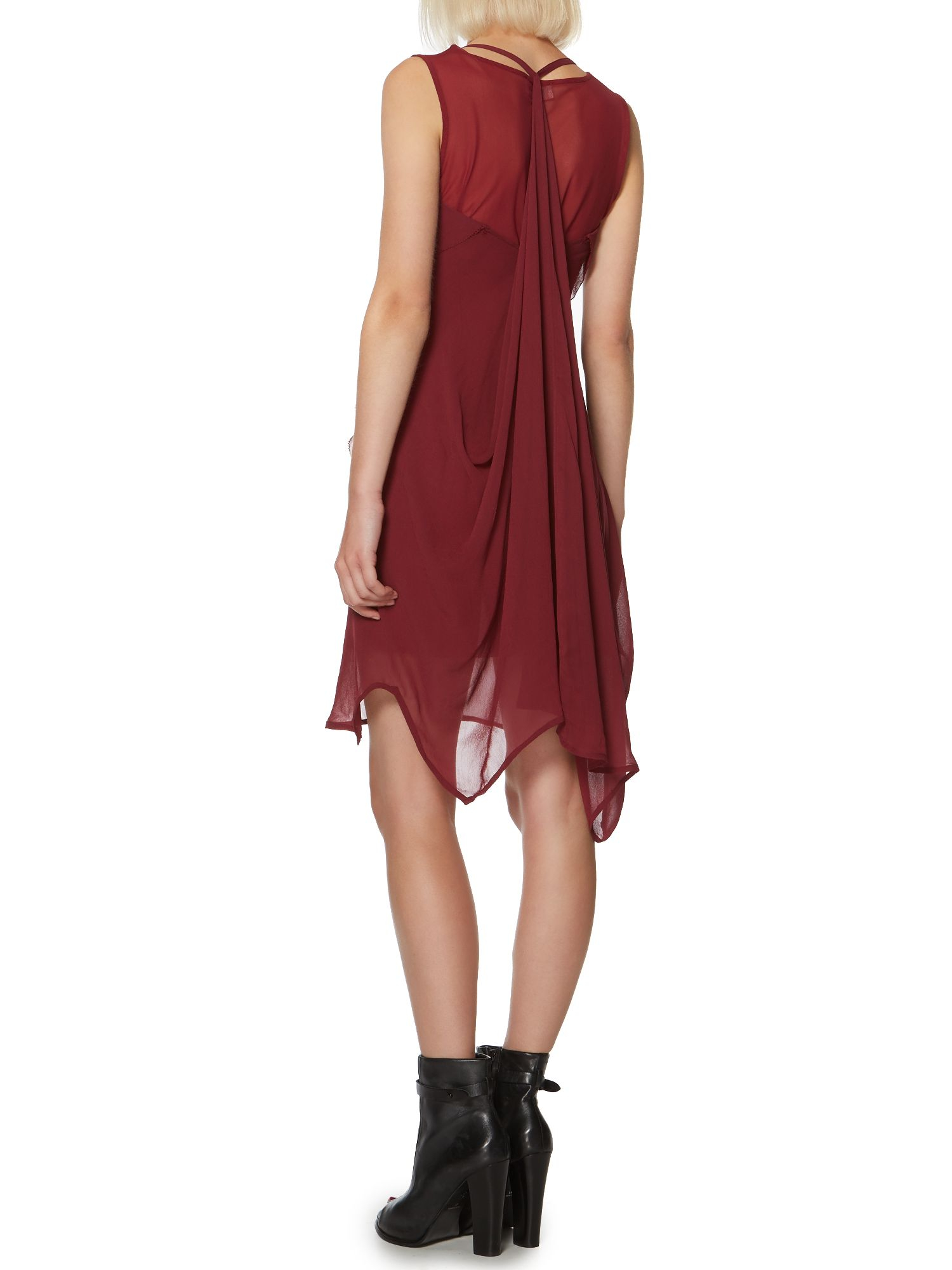 Label lab waterfall dress with mesh lining in red wine for Waterfall design dress