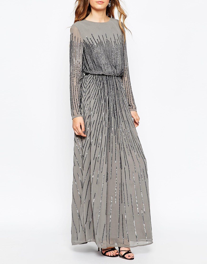 Asos Linear Sequin Long Sleeve Maxi Dress In Grey Gray