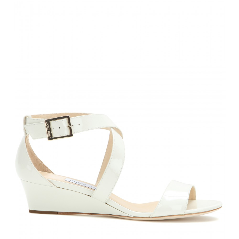 b8e703258cdf Lyst - Jimmy Choo Chiara Patent Leather Sandals in White