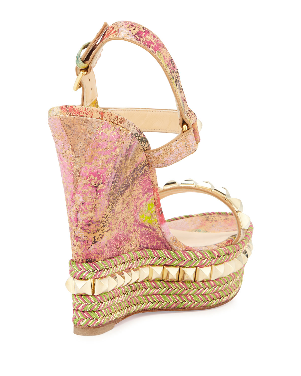 Christian louboutin Cataclou Cork Wedge Sandals in Pink (MULTI ...