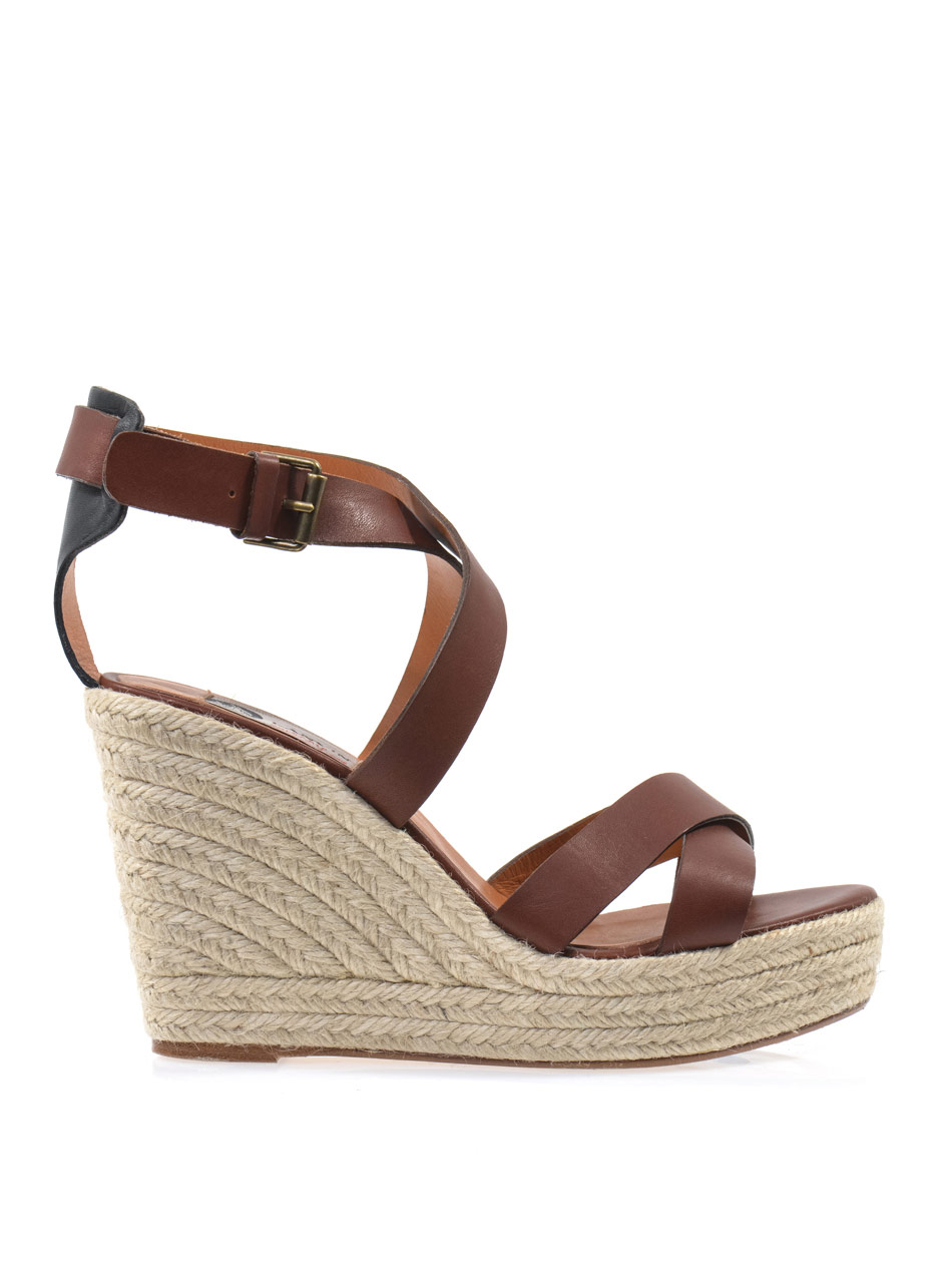 lanvin leather wedge sandals in brown lyst