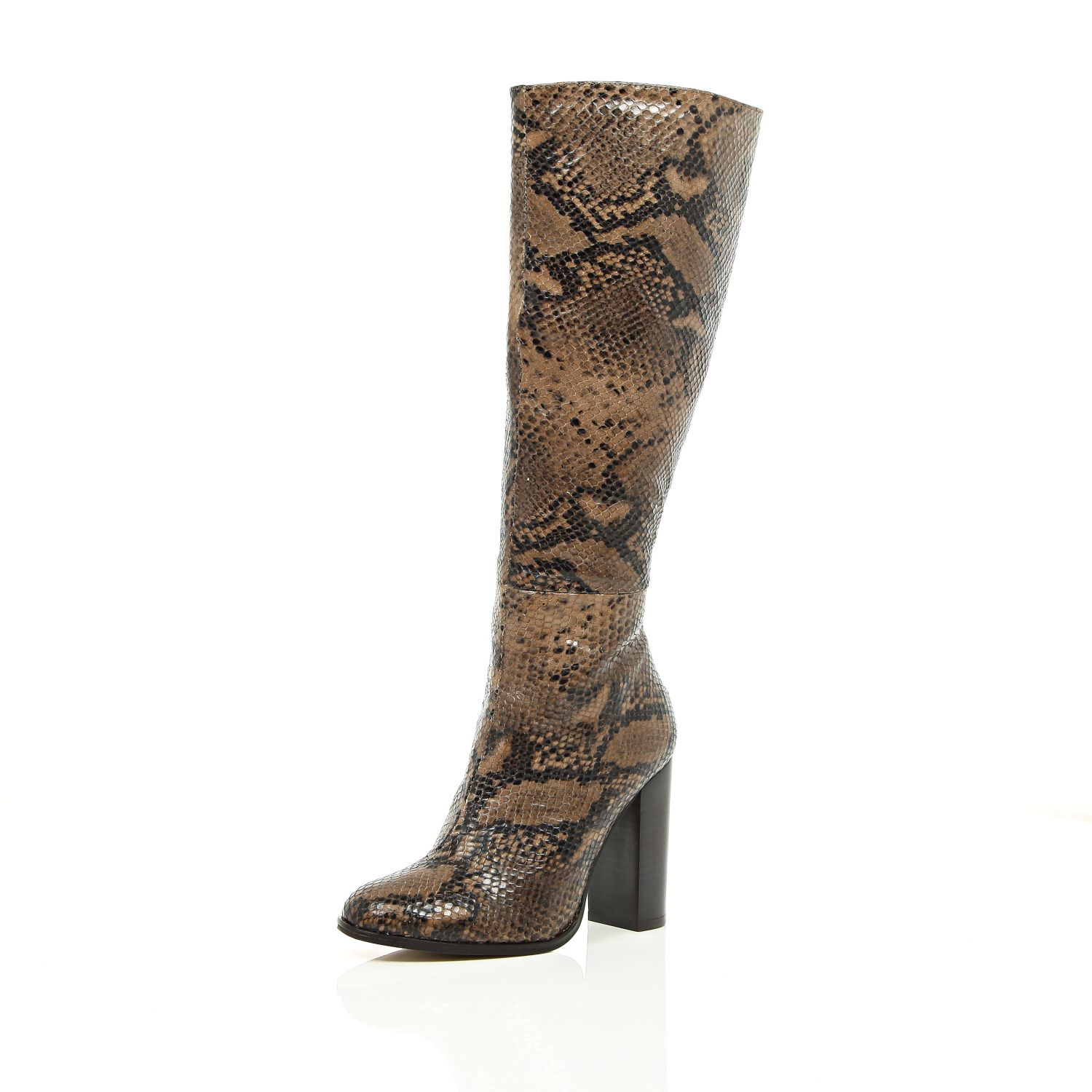river island beige snake print knee high heeled boots in