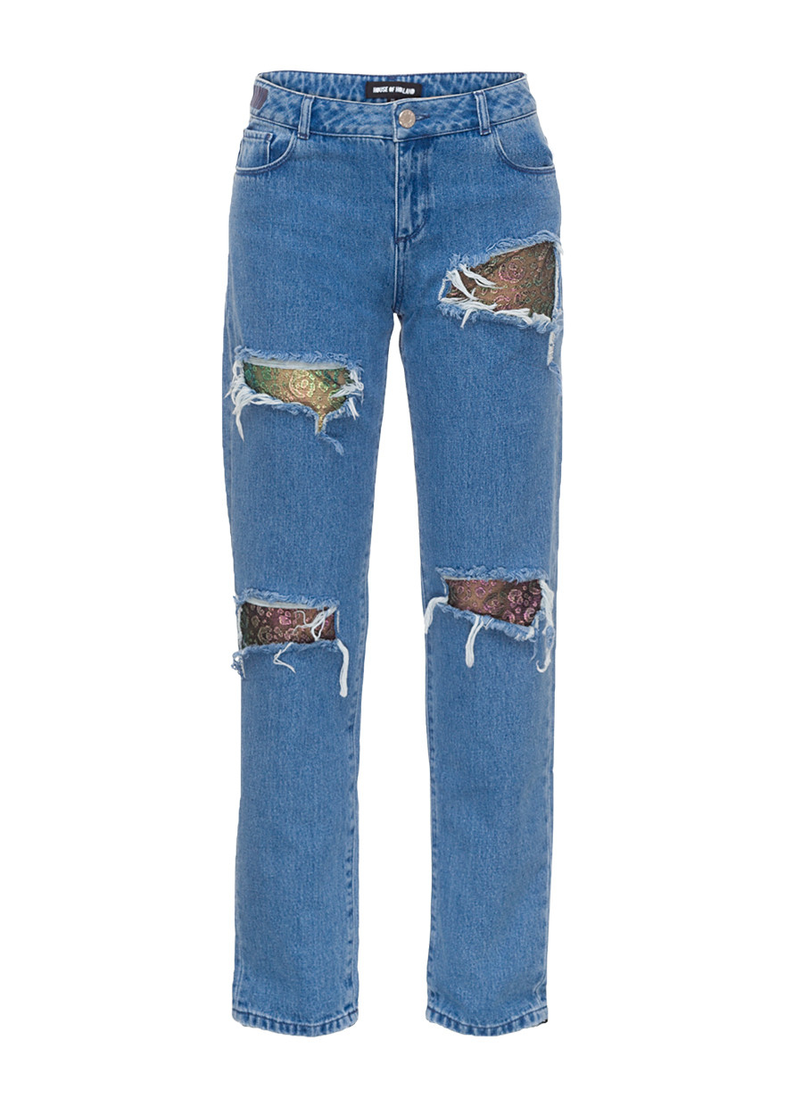 House Of Holland Lace Boyfriend Jeans In Blue Lyst