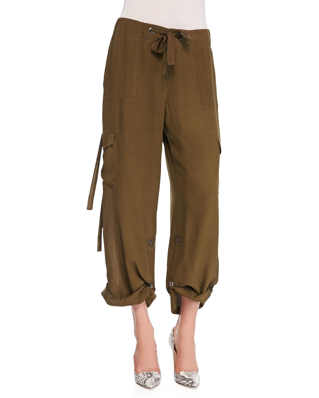 Go> by go silk Silk Cargo Pants in Green