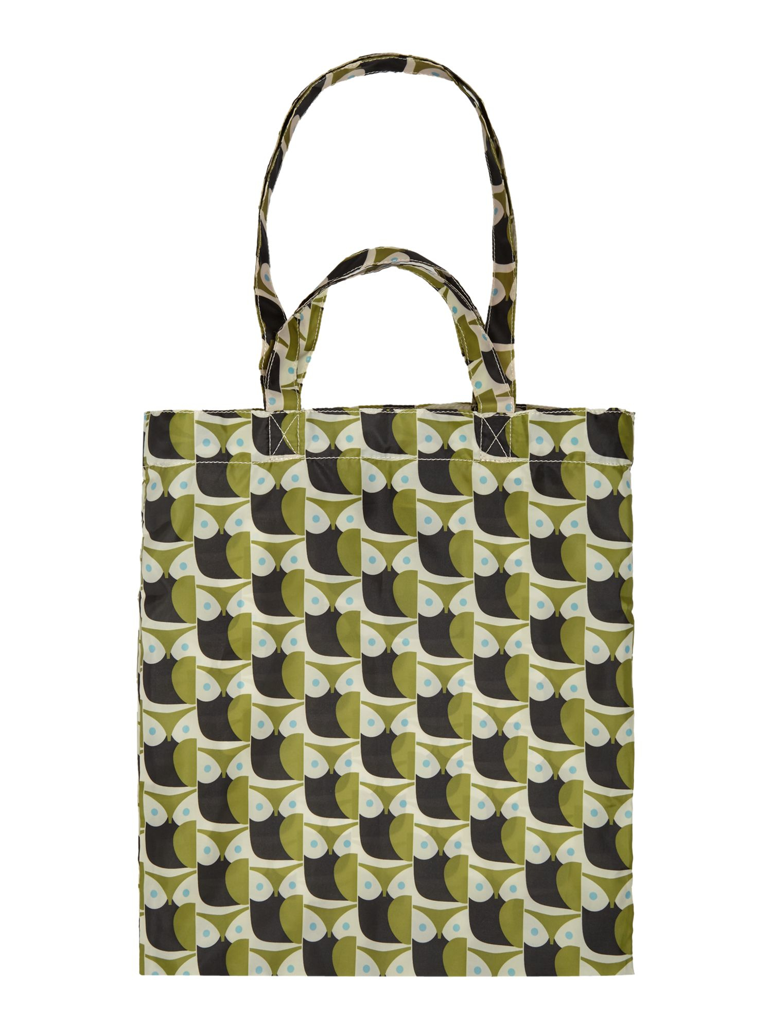 orla kiely little owl green multi pack away tote bag in. Black Bedroom Furniture Sets. Home Design Ideas
