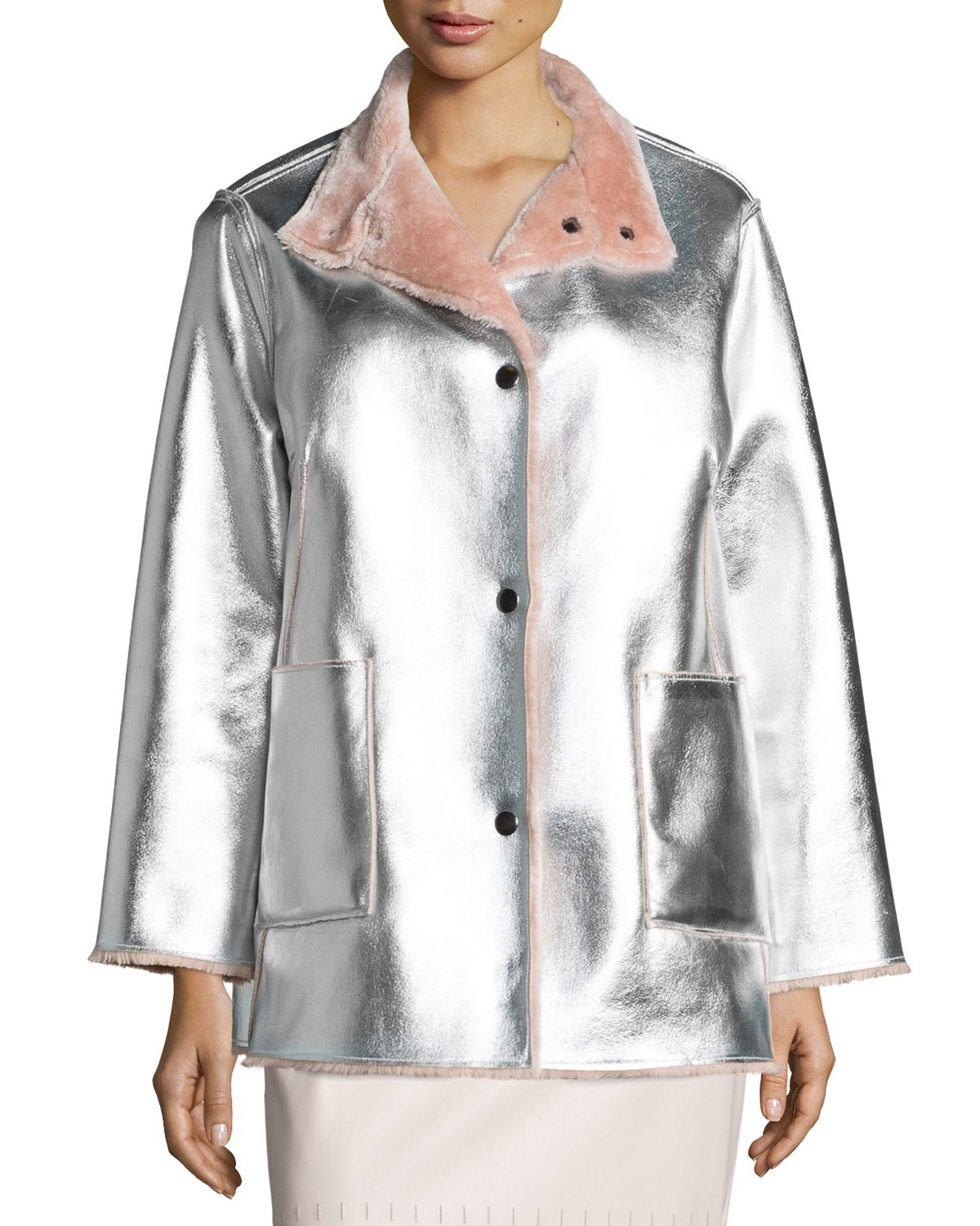 d539c2a4a6ff Lyst - Opening Ceremony Faux-fur Reversible Metallic Jacket in Metallic
