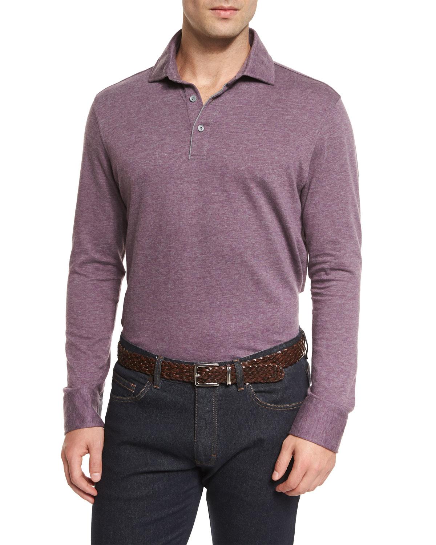 Ermenegildo zegna cashmere blend long sleeve polo shirt in for Long sleeve purple polo shirt