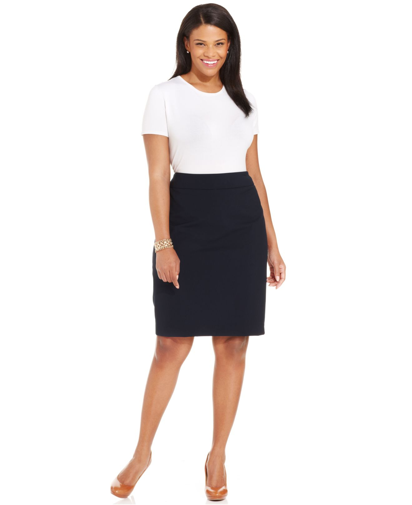 jones new york collection plus size pencil skirt in blue