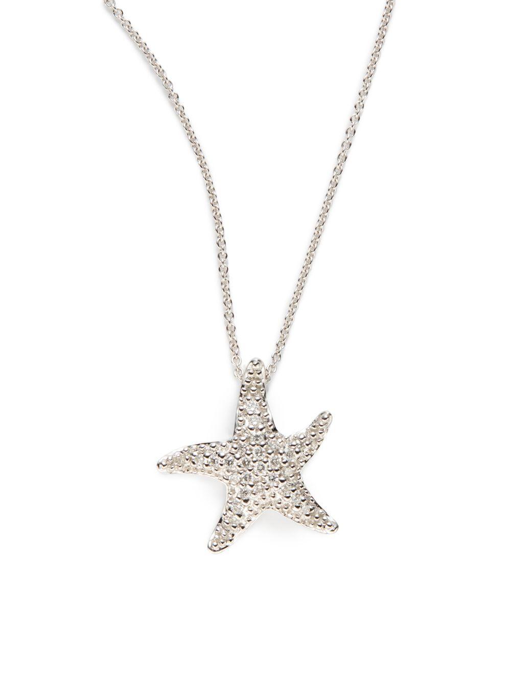 Lyst saks fifth avenue diamond 14k white gold starfish pendant gallery mozeypictures Choice Image