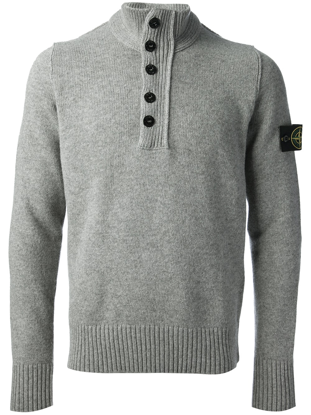 stone island button down sweater in gray for men lyst. Black Bedroom Furniture Sets. Home Design Ideas