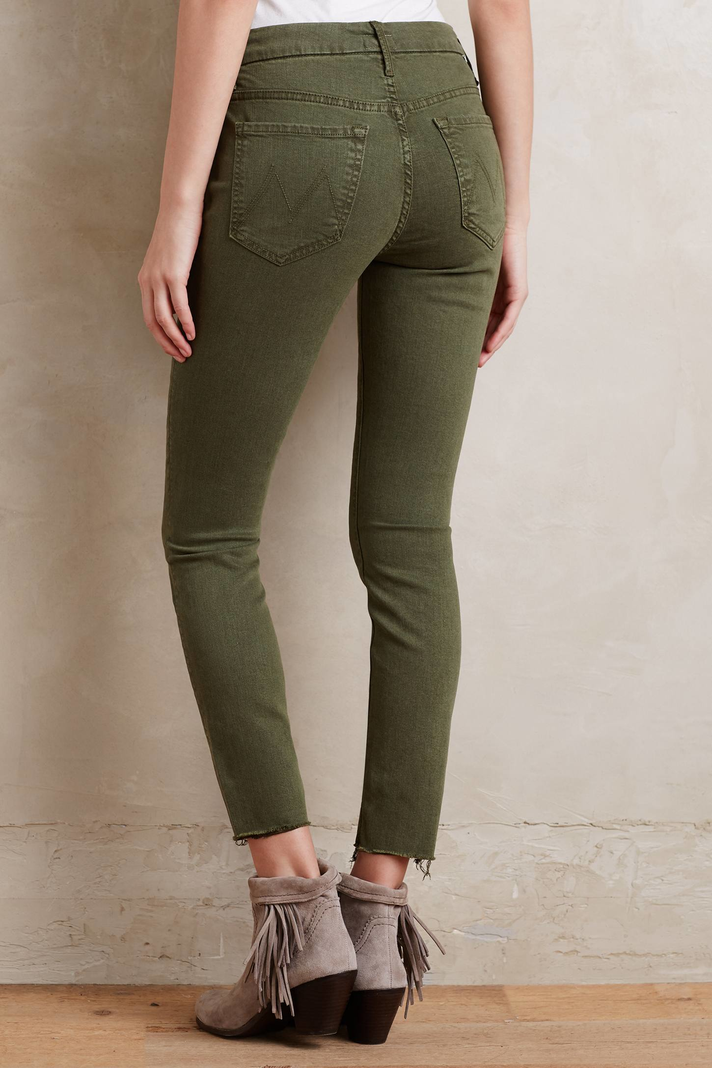 Tony And Joe S >> Mother Looker Ankle Fray Jeans in Green | Lyst