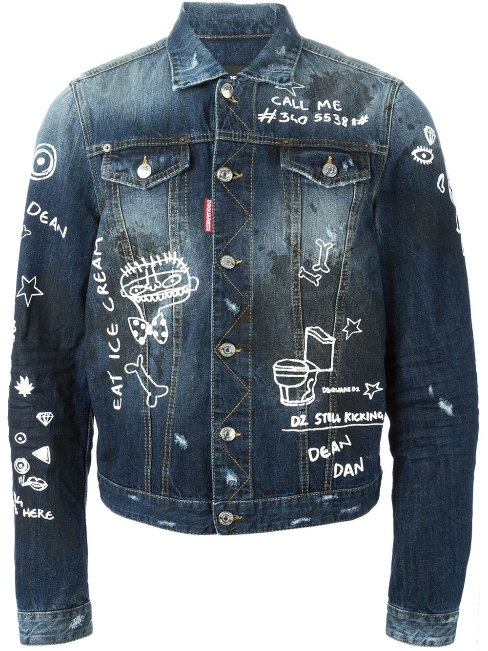 dsquared hand painted denim jacket in blue for men lyst. Black Bedroom Furniture Sets. Home Design Ideas