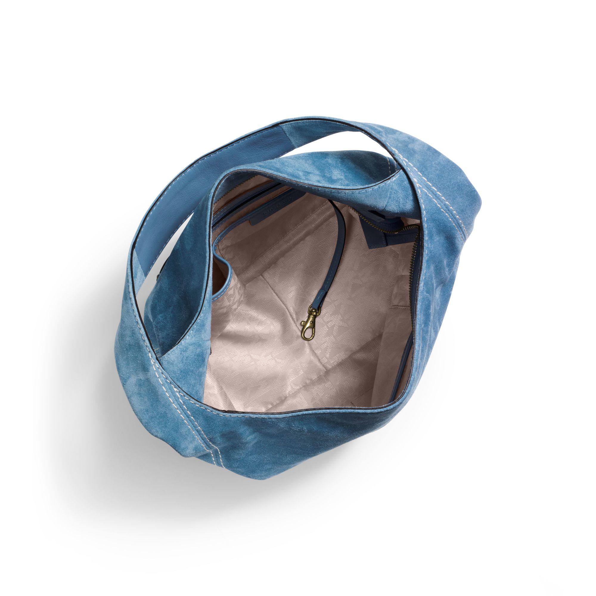 Michael Kors Lena Large Suede Shoulder Bag In Blue Lyst