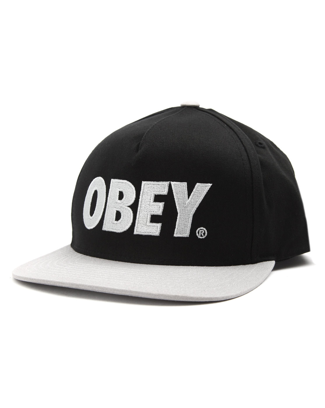 obey the city grey and black snapback baseball cap in