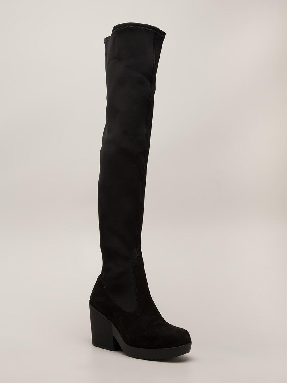 Camper Knee High Stretch Boots in Black | Lyst