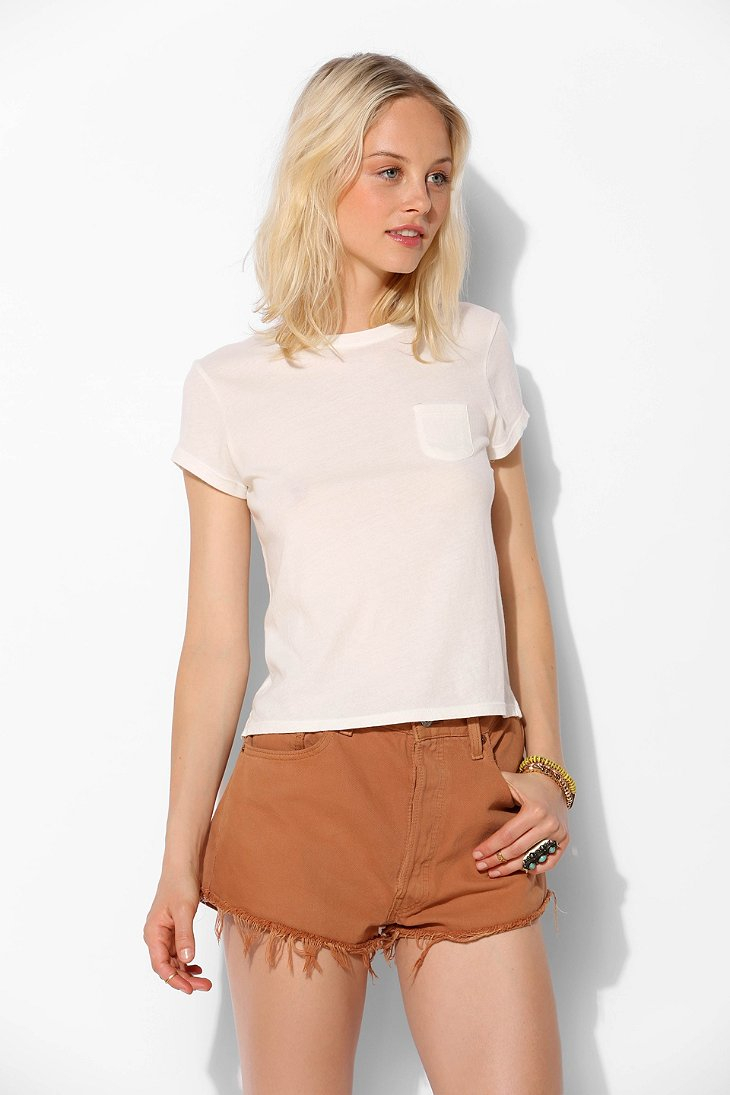 Urban Outfitters Uo Pocket Shrunken Tee In White Lyst