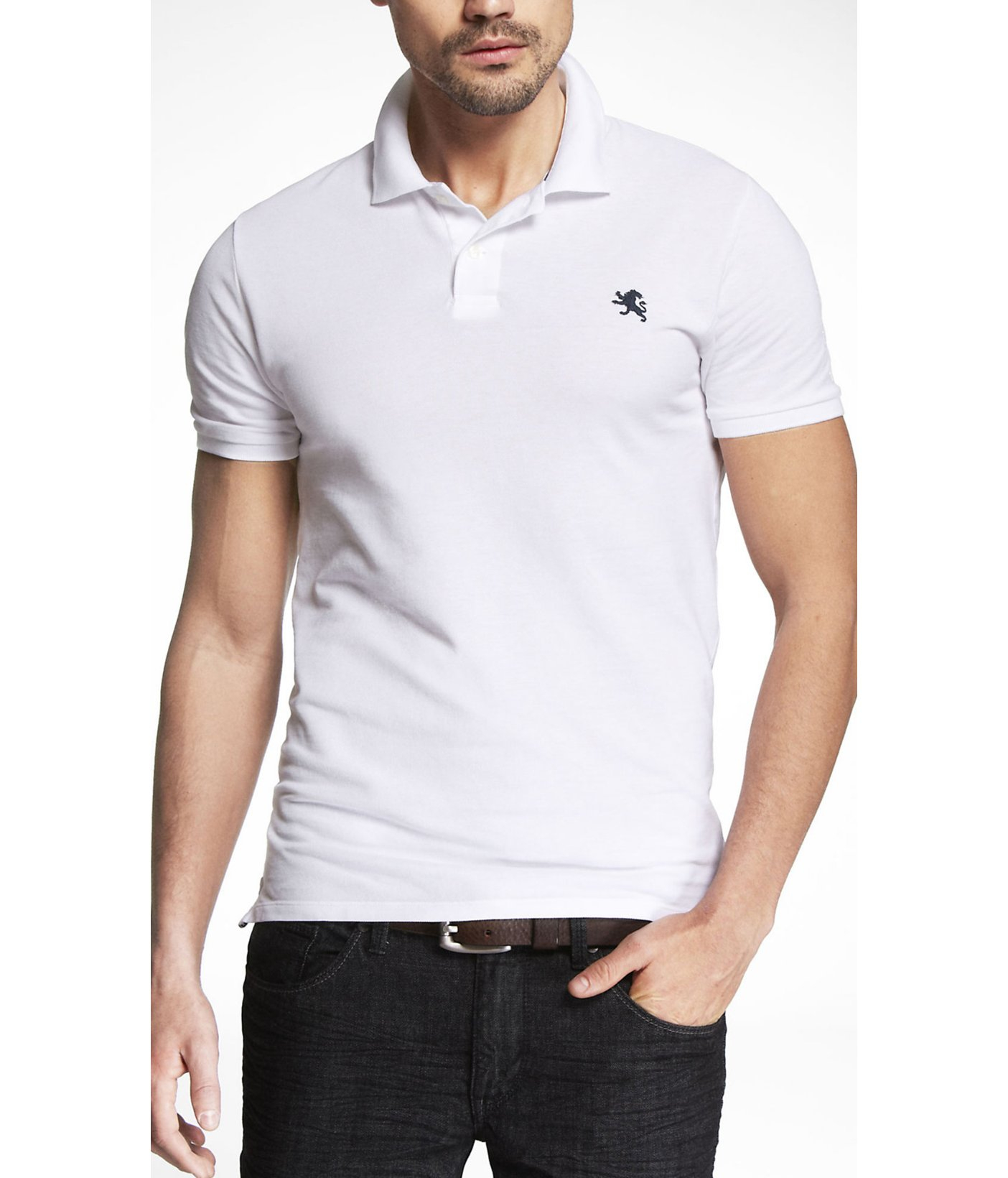 ... Lyst - Express Fitted Small Lion Pique Polo in White for Men 100%  genuine 8ce4e ... 03ae413b073c7