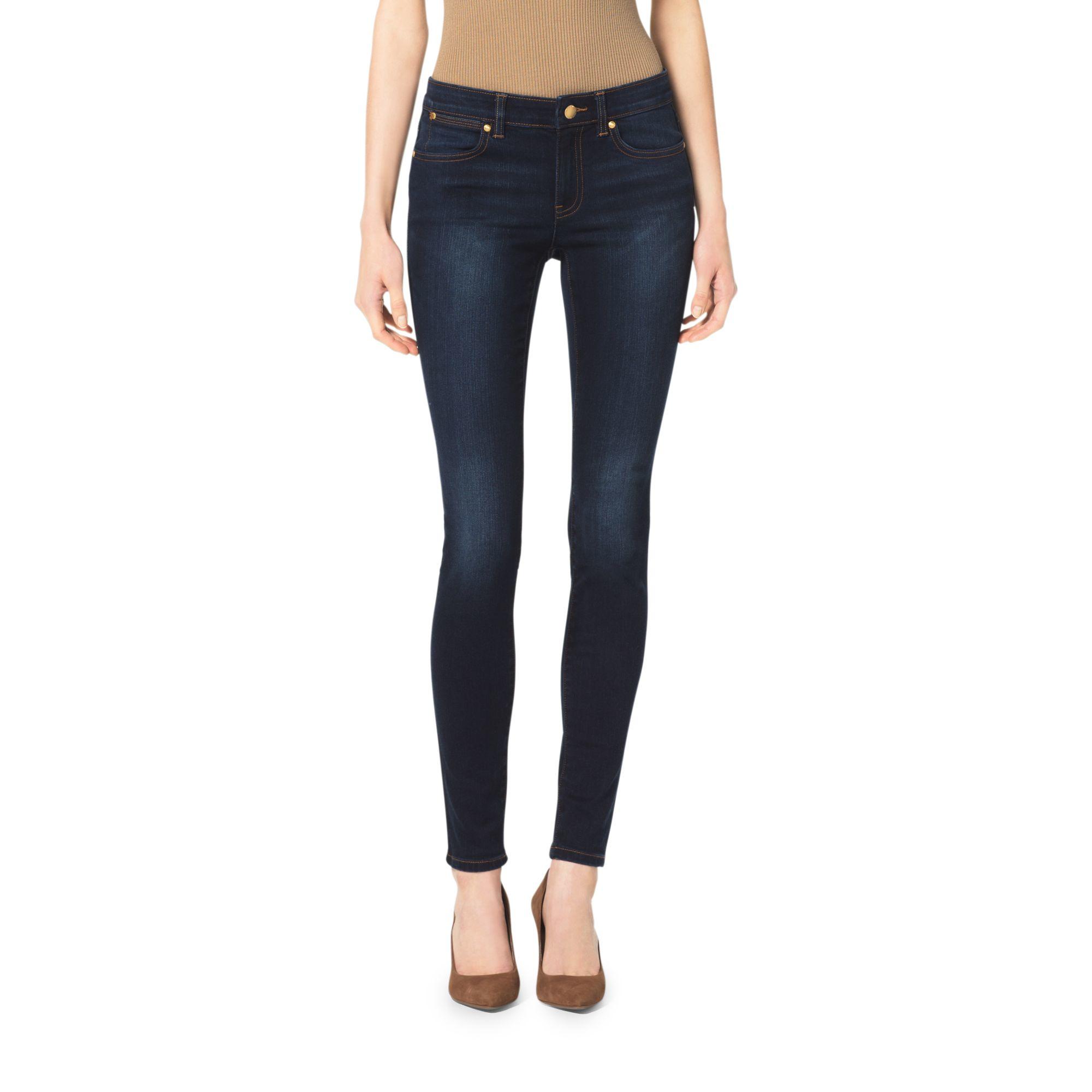 Michael kors Dark Wash Skinny Jeans in Blue | Lyst