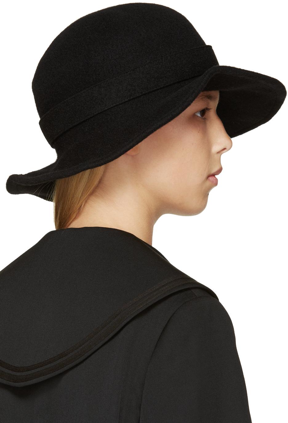 c458ad264 Comme des Garçons Black Wide Brim Wool Hat in Black - Lyst