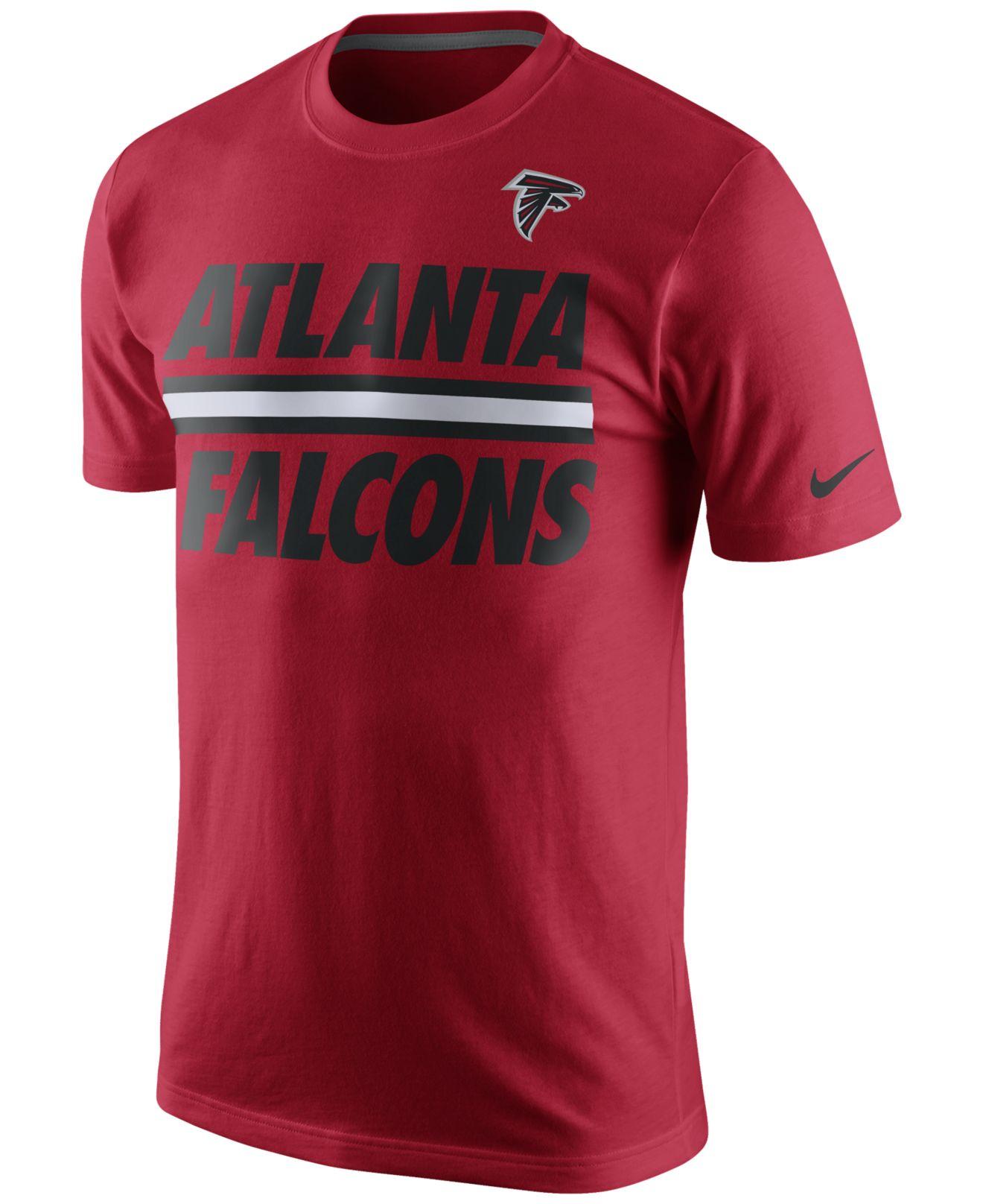 Nike Men 39 S Atlanta Falcons Team Stripe T Shirt In Red For