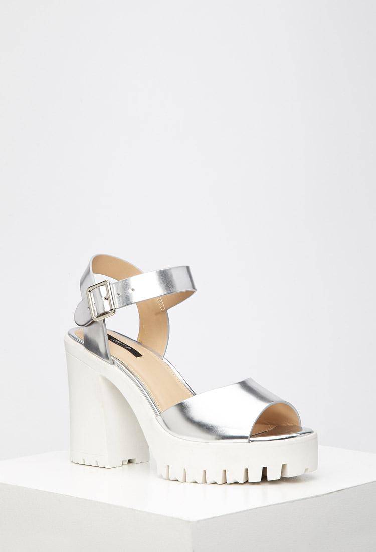 0cd7bd03a76 Lyst - Forever 21 Lug Sole Metallic Platform Sandals in Metallic