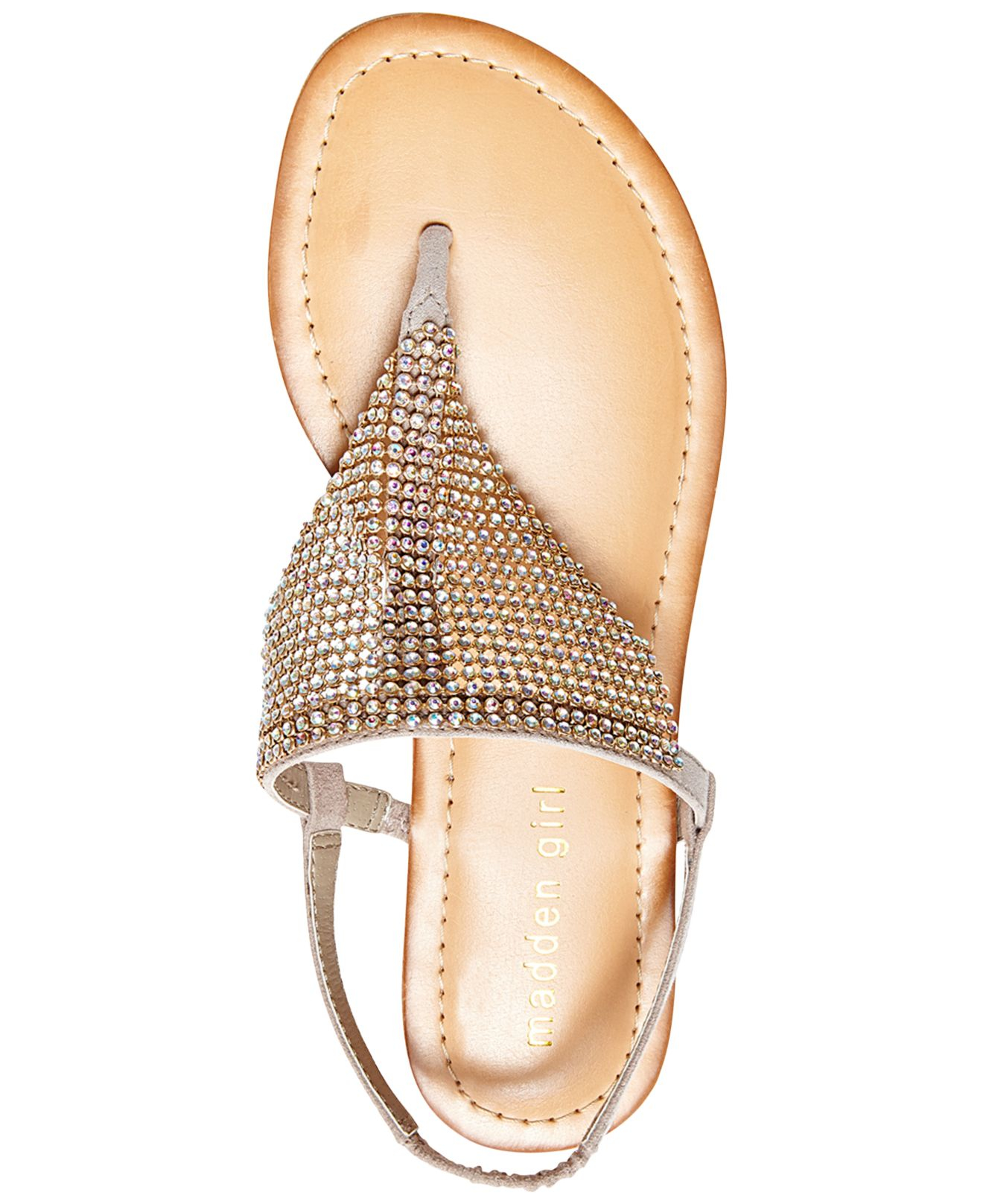 b821e78f0697dc Lyst - Madden Girl Sandie Rhinestone Hooded Flat Thong Sandals in ...
