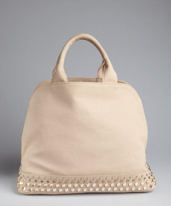Prada Rope Canvas Jeweled Base Top Handle Bag in Beige (silver) | Lyst