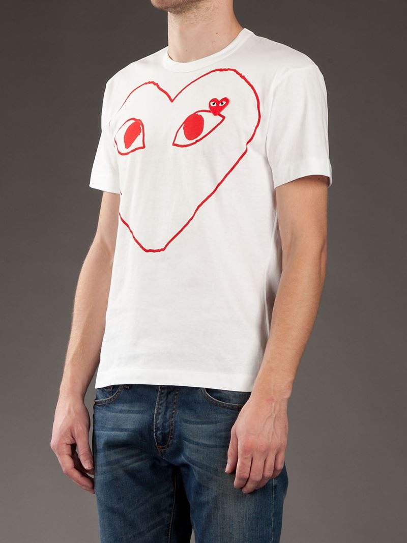 Lyst Play Comme Des Gar Ons Heart Logo T Shirt In White