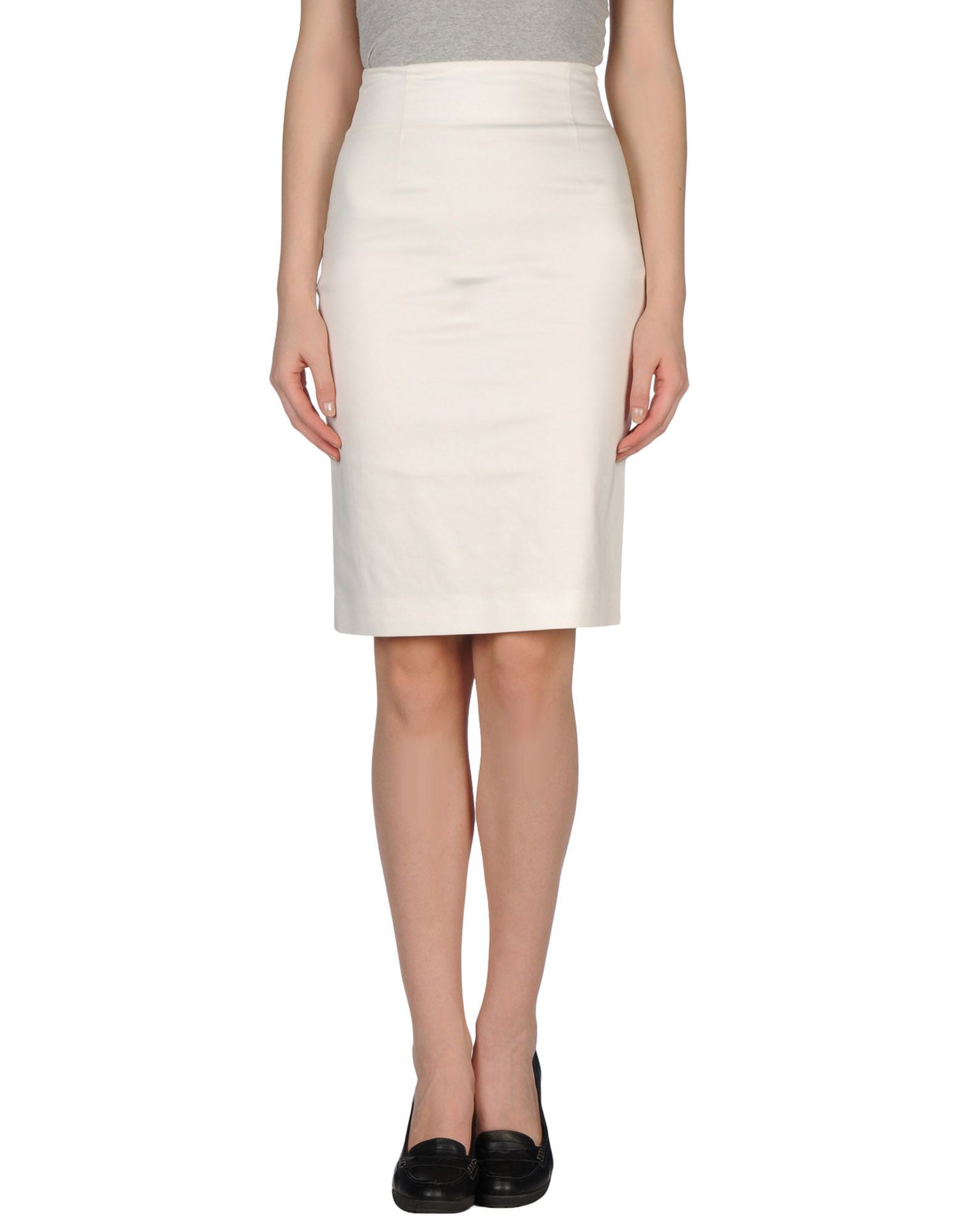tonello knee length skirt in white lyst