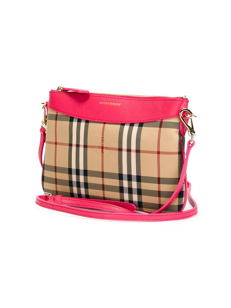 Burberry Horseferry Check Crossbody Bag in Pink & Purple (Pink)