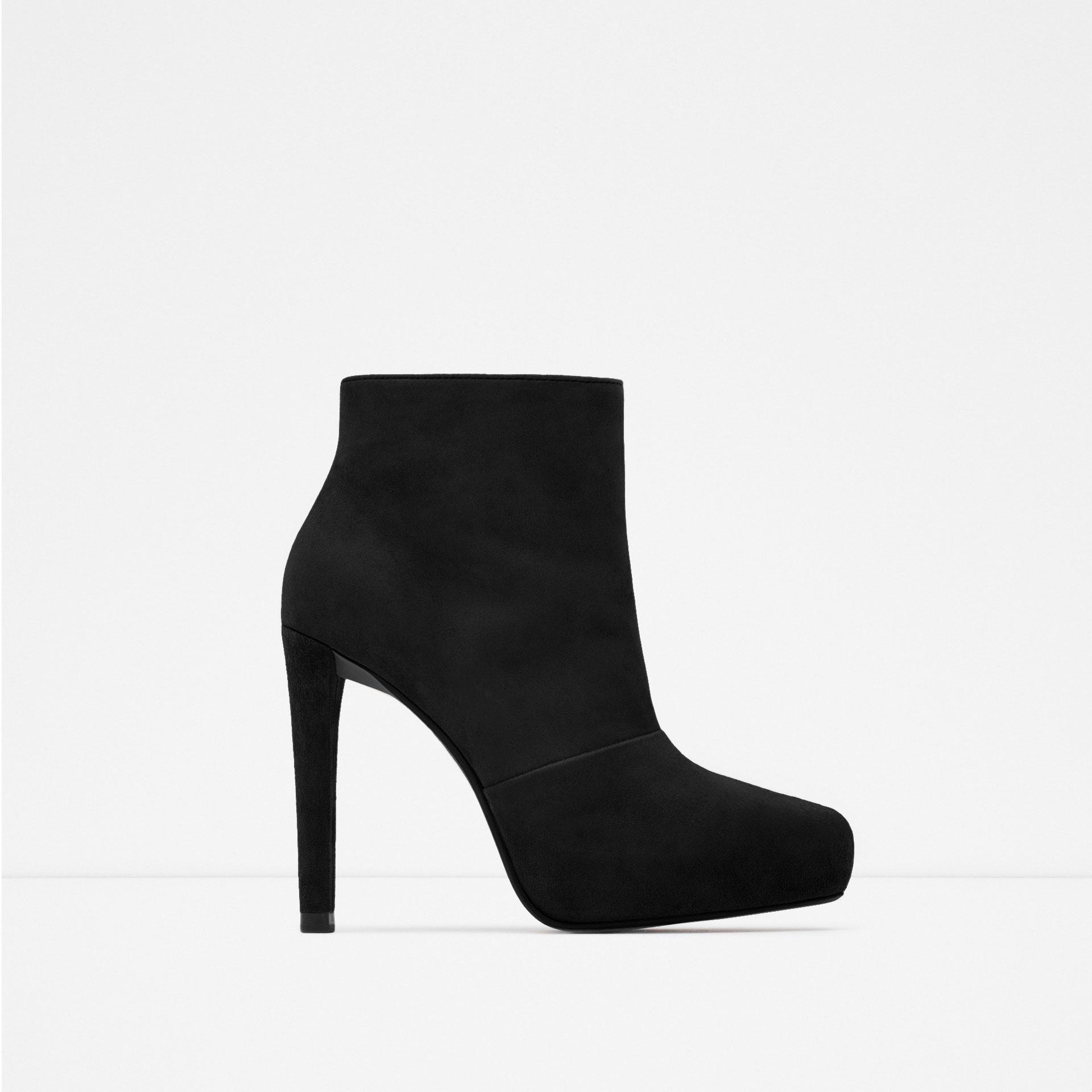 zara suede platform ankle boots in black lyst