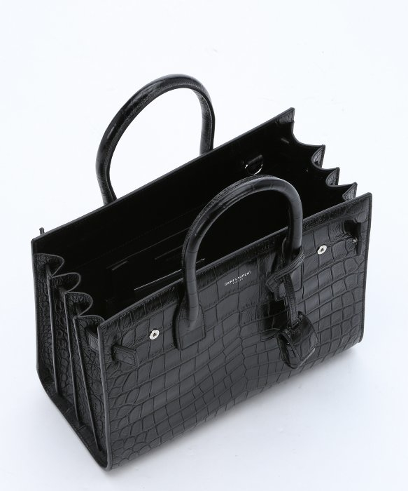 Lyst Saint Laurent Black Croc Embossed Leather Baby Sac