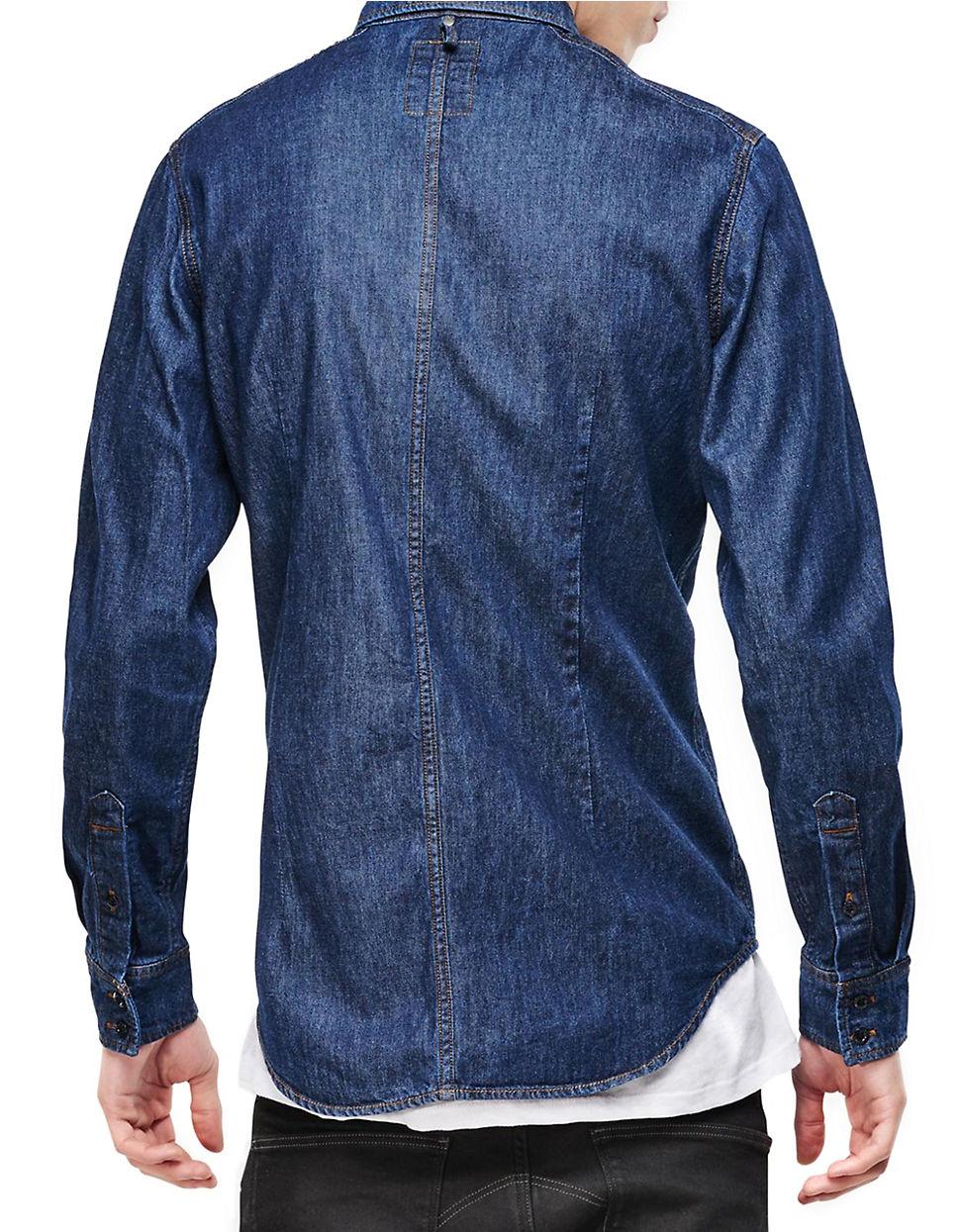 Lyst g star raw coban denim cotton workshirt in blue for men for Blue cotton work shirts