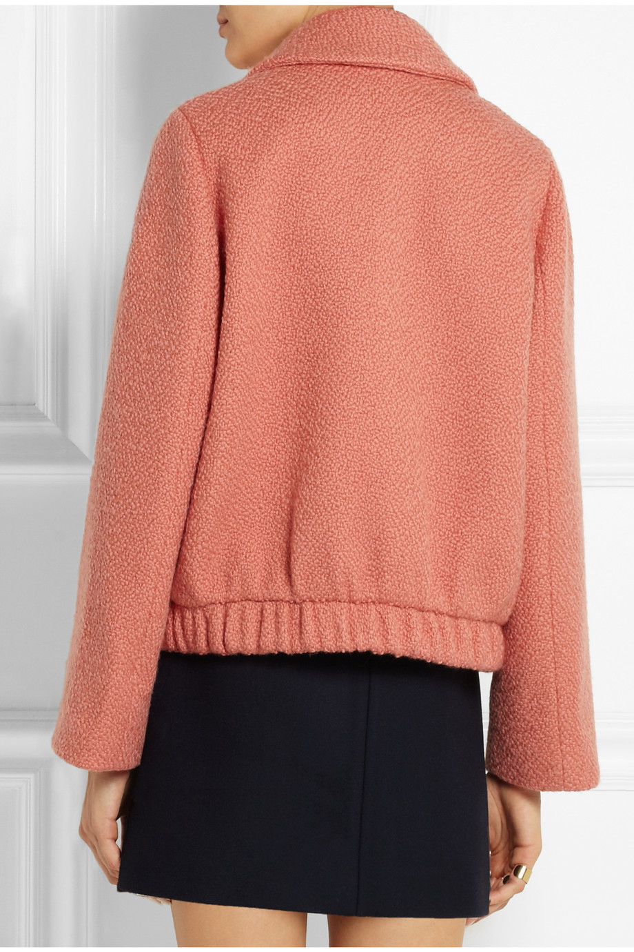 Carven Oversized Cropped Textured-Wool Coat in Orange | Lyst