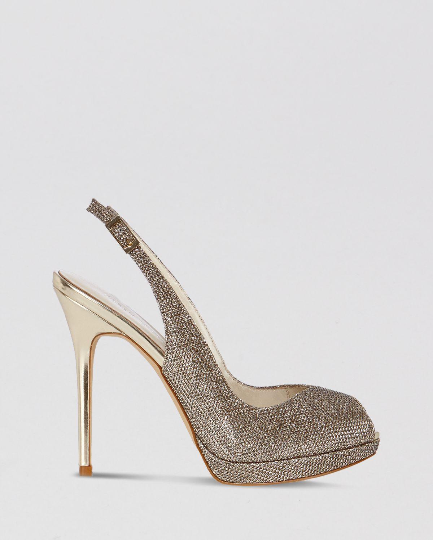 374affb6d5 Karen Millen Peep Toe Platform Evening Slingback Sandals - Glitter ...