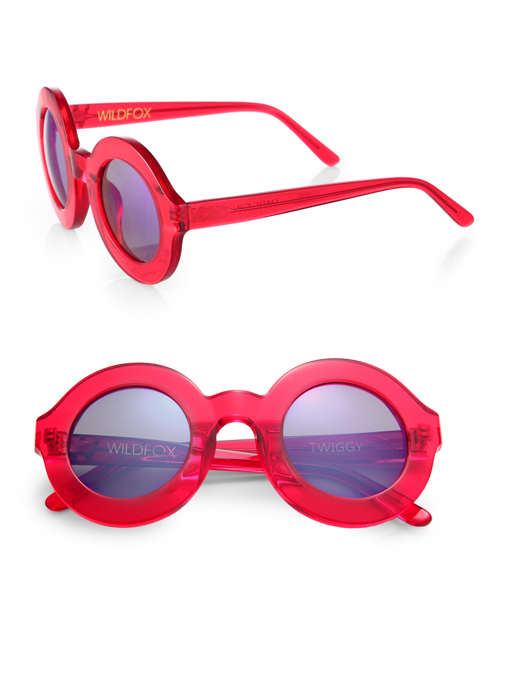 Sunglasses Wildfox Round Plastic Delux Red Twiggy fygb76