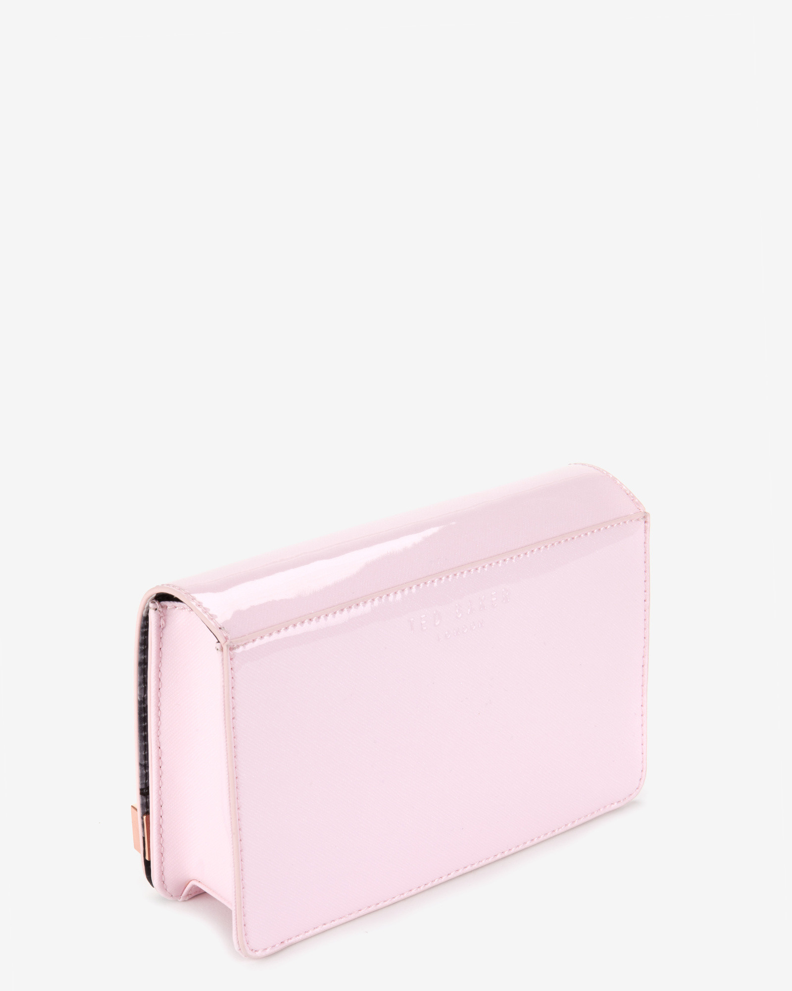 Ted baker Patent Crosshatch Clutch Bag in Pink | Lyst