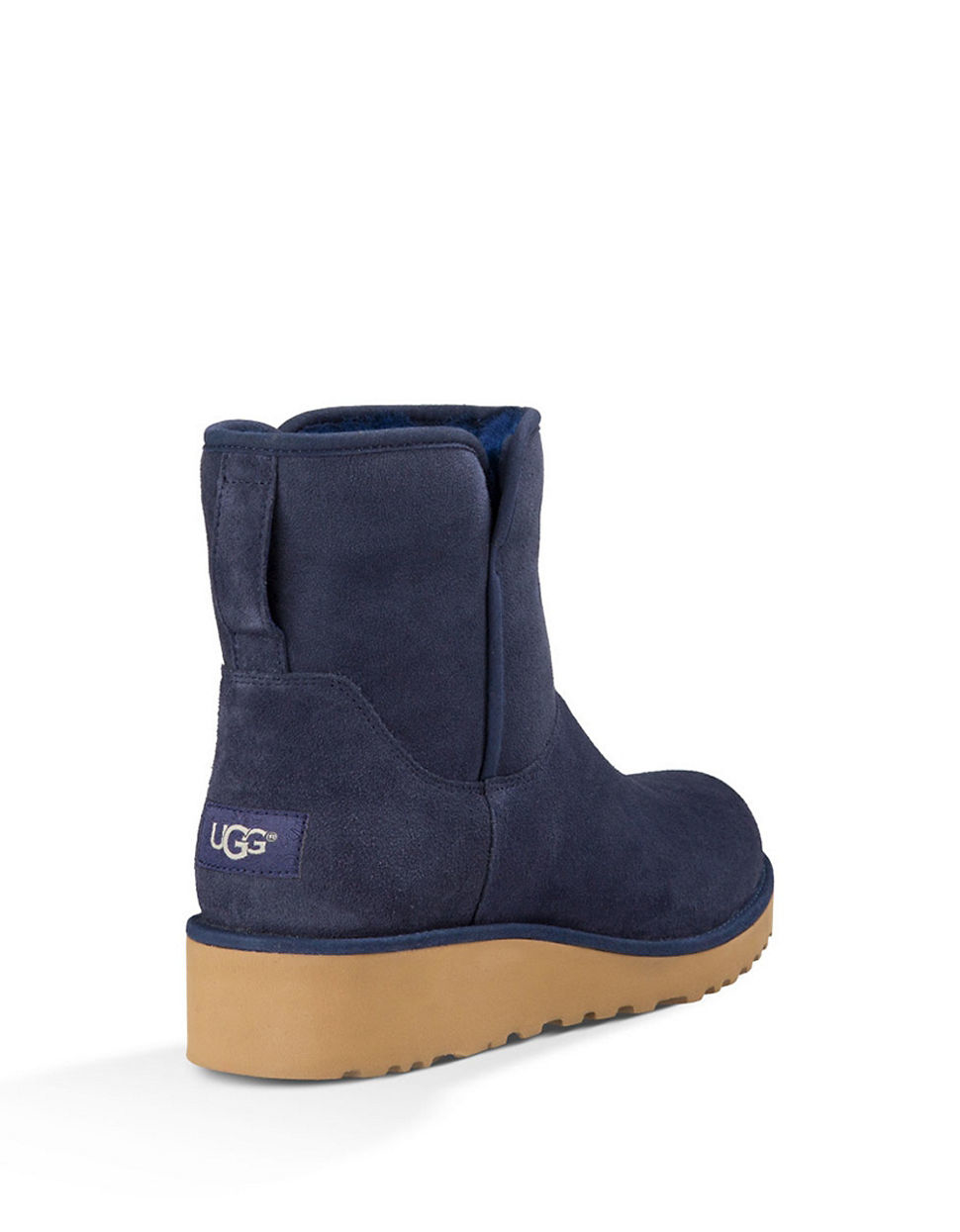 Ugg Kristin Sheepskin Wedge Ankle Boots In Navy Blue Blue