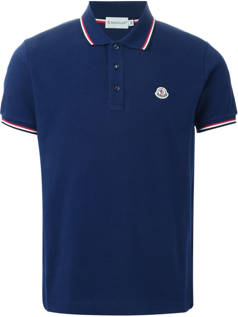 Moncler Classic Polo Shirt in Blue for Men | Lyst