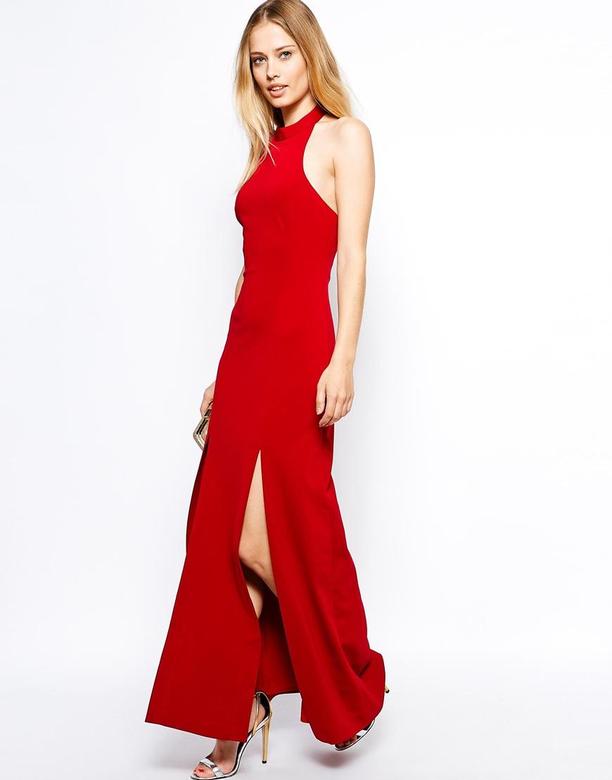 Red maxi dress thigh splits