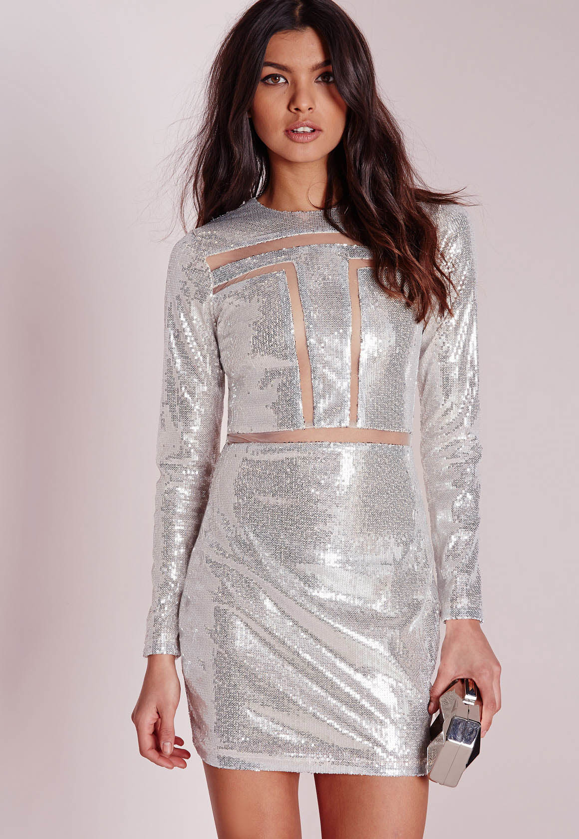 Lyst Missguided Mesh Insert Sequin Bodycon Dress Silver