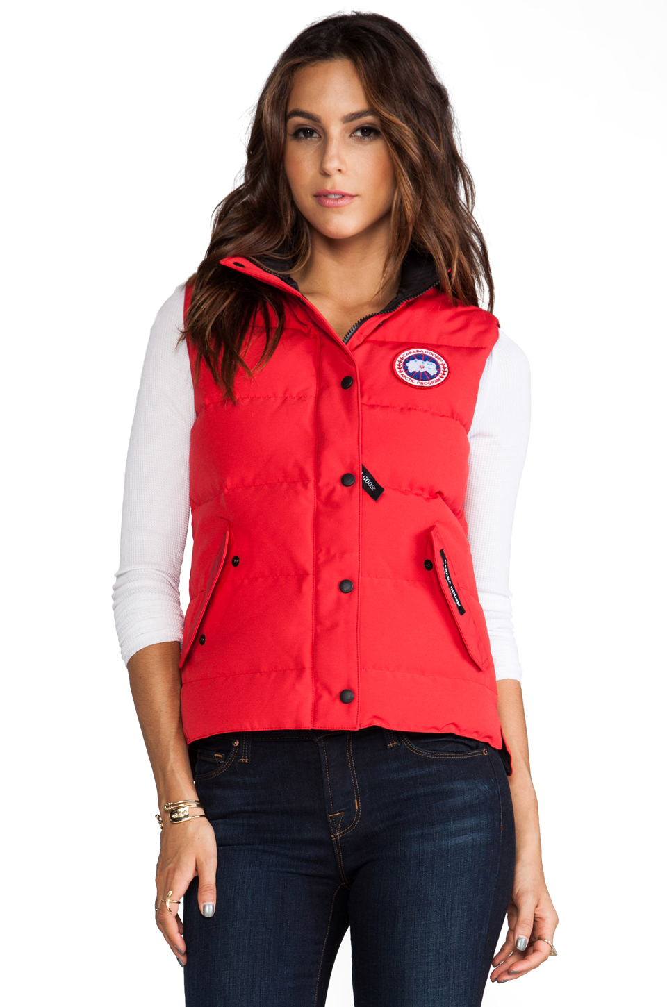 discount canada goose vest freestyle for women in red