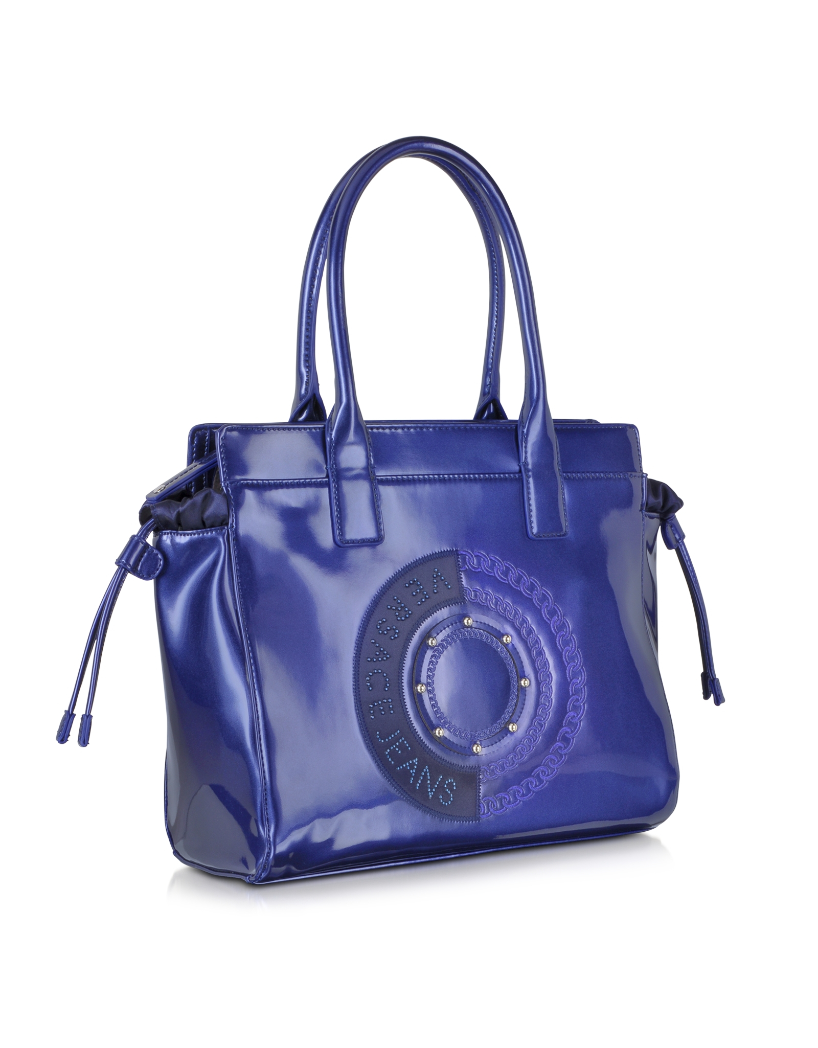 Lyst - Versace Jeans Blue Patent Eco Leather Tote in Blue 66cbd35530