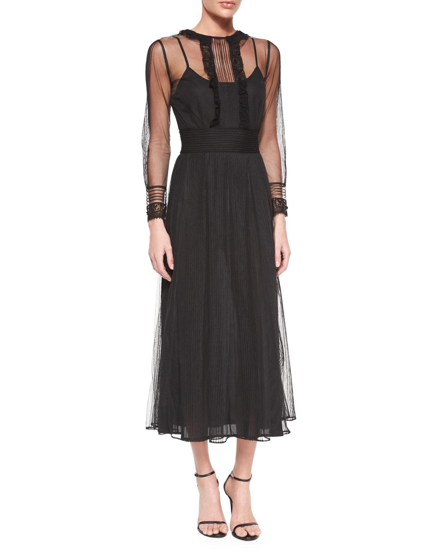 Red valentino Long-sleeve Chiffon Midi Dress in Black | Lyst