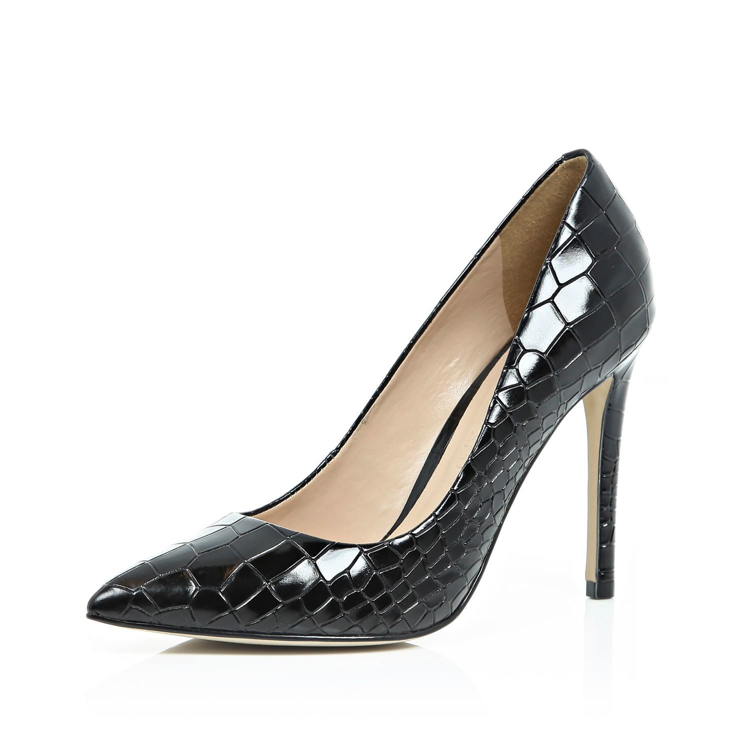 river island black patent leather croc court shoes in