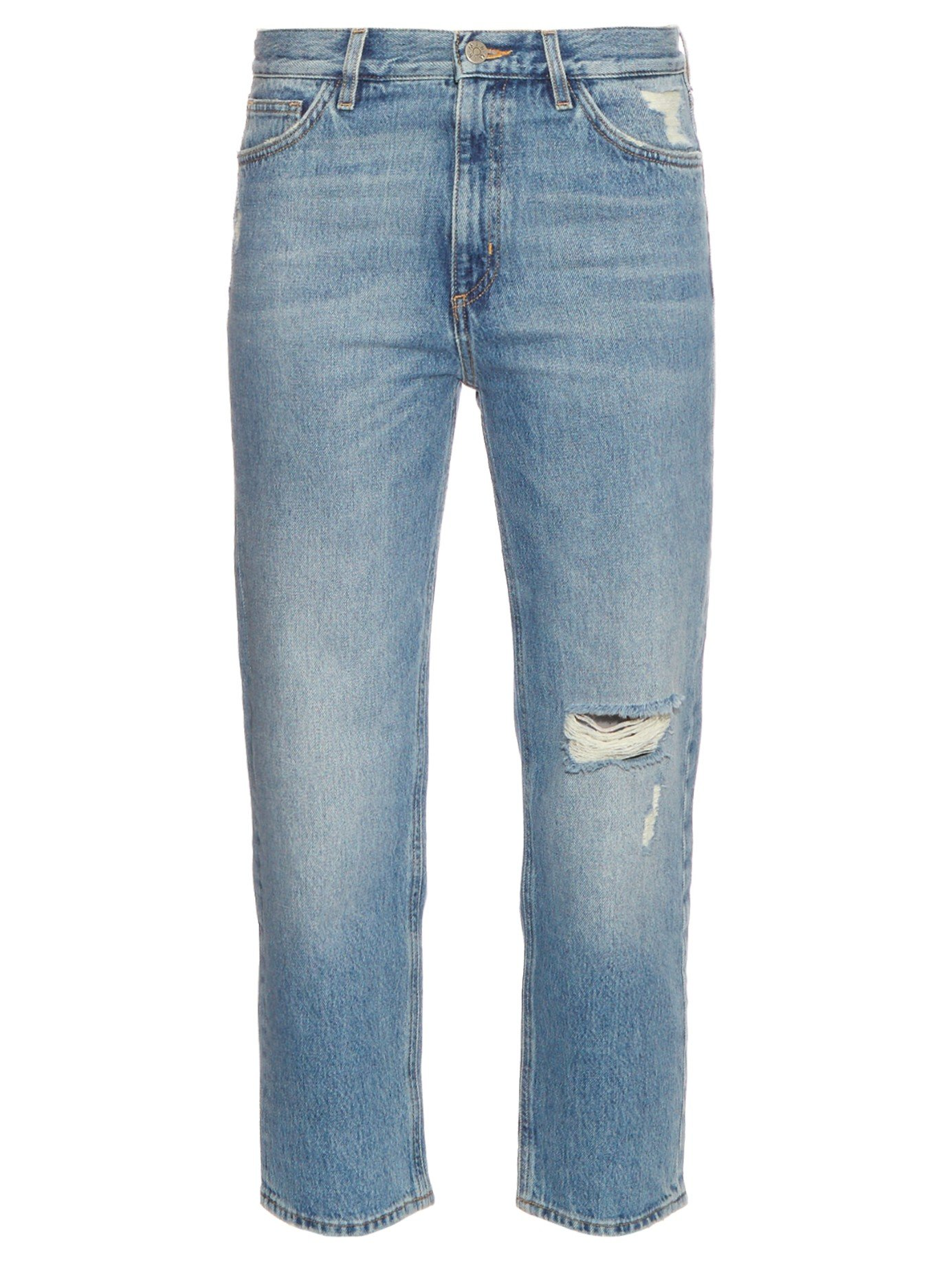 Jeanne High-rise Cropped Distressed Straight-leg Jeans - Blue Mih Jeans 2fR0ENMOi